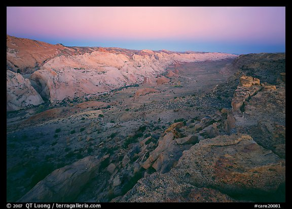 Waterpocket Fold from Halls Creek overlook, dawn. Capitol Reef National Park (color)