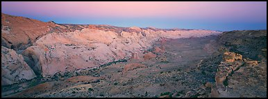 Waterpocket fold in pastel hues at dawn. Capitol Reef National Park, Utah, USA.