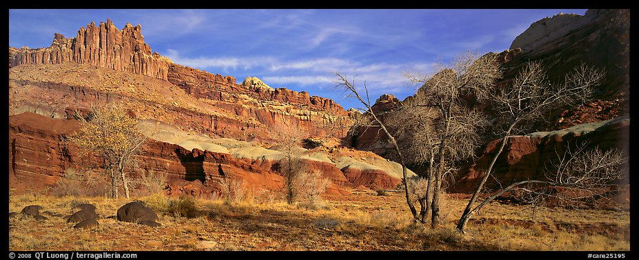 Castle Meadow and Castle, late autumn. Capitol Reef National Park (color)