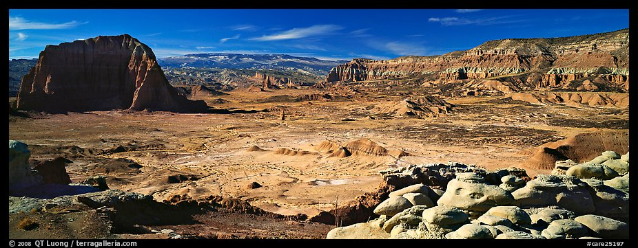 Vast desert landscape, Cathedral Valley. Capitol Reef National Park (color)