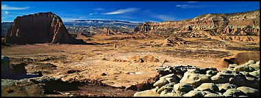 Vast desert landscape, Cathedral Valley. Capitol Reef National Park (Panoramic color)