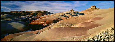 Bentonite hills landscape, Cathedral Valley. Capitol Reef National Park (Panoramic color)