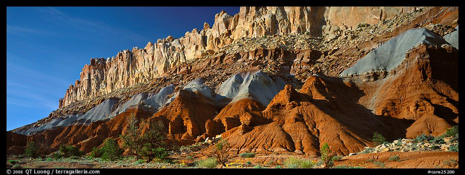 Multi-colored cliffs of Waterpocket Fold. Capitol Reef National Park (color)