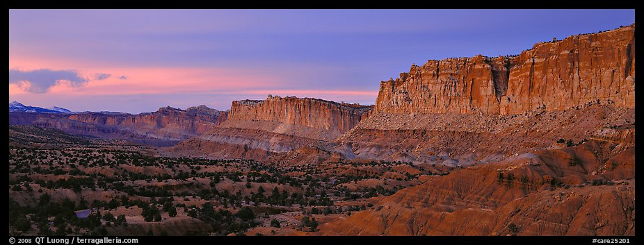 Sandstone cliffs at sunset. Capitol Reef National Park (color)