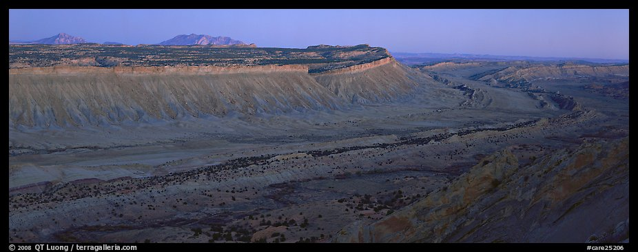 Long chain of cliffs of the Waterpocket Fold at dusk. Capitol Reef National Park (color)