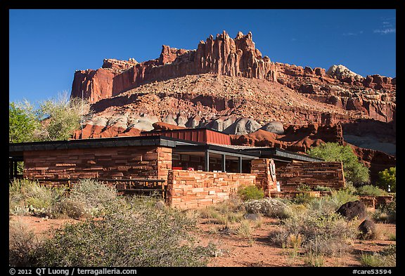 Visitor Center and Castle rock formation. Capitol Reef National Park (color)