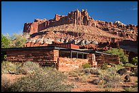 Visitor Center and Castle rock formation. Capitol Reef National Park, Utah, USA. (color)