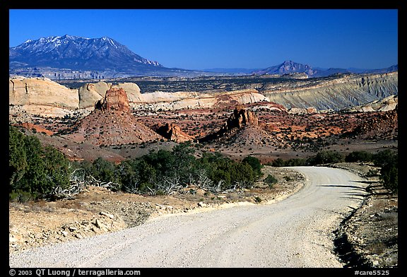 Waterpocket Fold and gravel road called Burr trail. Capitol Reef National Park (color)