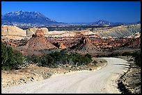 Waterpocket Fold and gravel road called Burr trail. Capitol Reef National Park, Utah, USA. (color)