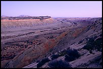 Waterpocket Fold monocline from Strike Valley overlook, sunset. Capitol Reef National Park, Utah, USA.