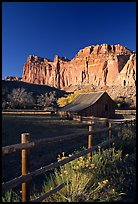 Fence, Old barn, horse and cliffs, Fruita. Capitol Reef National Park, Utah, USA. (color)