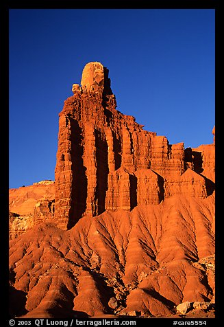 Chimney Rock at sunset. Capitol Reef National Park, Utah, USA.
