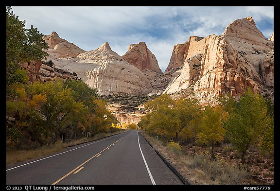 Road and domes in Fremont River Canyon. Capitol Reef National Park (color)