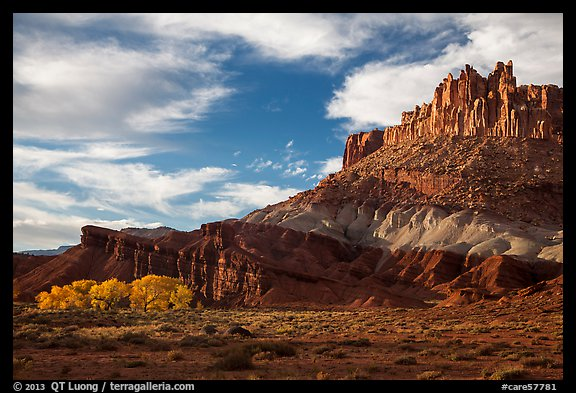 Late afternoon light on Castle and cottowoods in autumn. Capitol Reef National Park (color)
