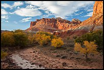 Sulphur Creek, trees in fall foliage, and Castle, Fruita. Capitol Reef National Park ( color)