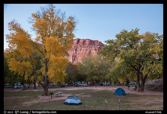 Fruita Campground at dusk. Capitol Reef National Park (color)