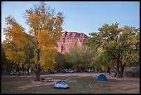 Fruita Campground at dusk. Capitol Reef National Park, Utah, USA. (color)