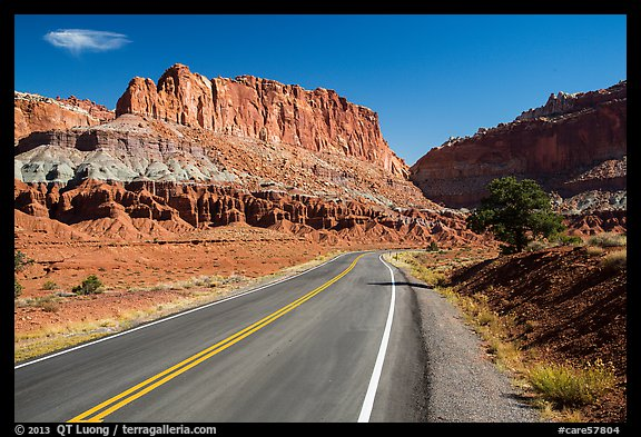 Road and cliffs. Capitol Reef National Park (color)