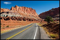 Road and cliffs. Capitol Reef National Park, Utah, USA. (color)