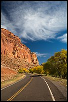 Road, Fruita Orchard in the fall. Capitol Reef National Park, Utah, USA. (color)