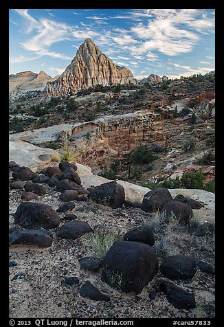 Balsalt boulders and Pectol Pyramid. Capitol Reef National Park (color)