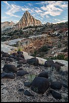 Balsalt boulders and Pectol Pyramid. Capitol Reef National Park, Utah, USA. (color)