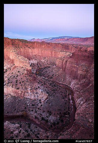 Sulfur Creek Goosenecks and Waterpocket Fold at dawn. Capitol Reef National Park (color)