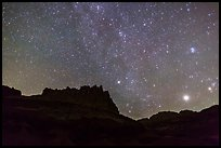 Castle under starry sky at night. Capitol Reef National Park, Utah, USA.