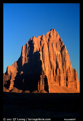 Temple of the Sun, Cathedral Valley, sunrise,. Capitol Reef National Park (color)