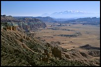 Upper Desert overlook, Cathedral Valley, mid-day. Capitol Reef National Park, Utah, USA.