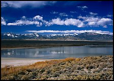 Sagebrush, lake, and Snake Range. Great Basin National Park, Nevada, USA.