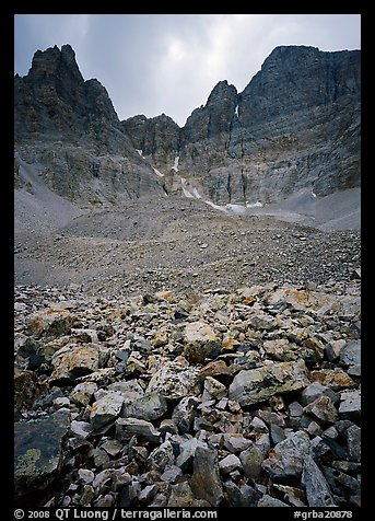 Wheeler Peak Glacier, the lowest in latitude in the US. Great Basin  National Park (color)