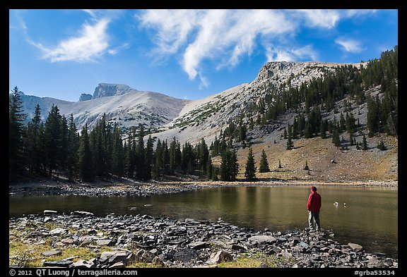 Visitor looking, Stella Lake. Great Basin National Park (color)
