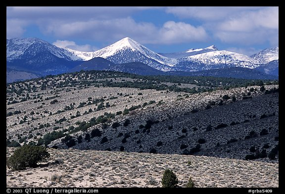 Fresh snow on the Snake range, seen from the foothills. Great Basin National Park, Nevada, USA.