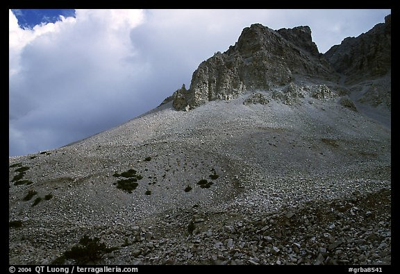 Peak, talus, and clouds. Great Basin National Park (color)