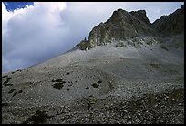Peak, talus, and clouds. Great Basin National Park, Nevada, USA. (color)