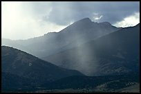 Rays over Snake Range and Wheeler Peak. Great Basin National Park, Nevada, USA. (color)
