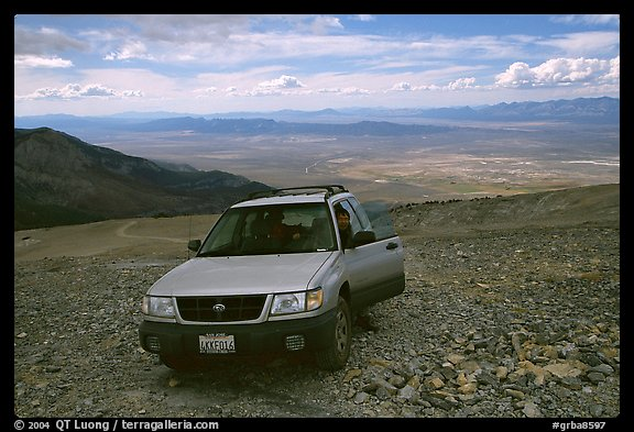 SUV on four wheel drive road on Mt Washington. Great Basin National Park (color)