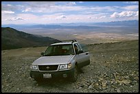 SUV on four wheel drive road on Mt Washington. Great Basin National Park, Nevada, USA.