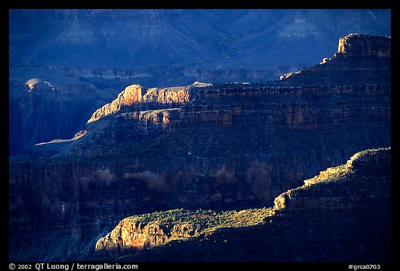 Ridges from Bright Angel Point, sunrise. Grand Canyon National Park (color)