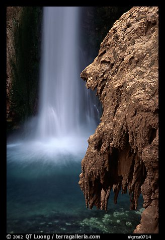 Rock and Mooney Falls, Havasu Canyon. Grand Canyon National Park (color)