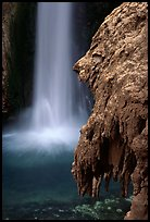 Rock and Mooney Falls, Havasu Canyon. Grand Canyon National Park, Arizona, USA.