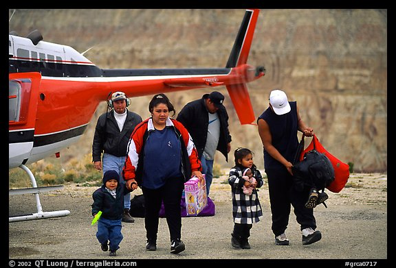 Havasu Indians commute by helicopter to roadless village in Havasu Canyon. Grand Canyon National Park, Arizona, USA.