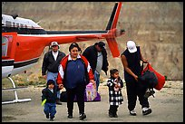 Havasu Indians commute by helicopter to roadless village. Grand Canyon National Park ( color)