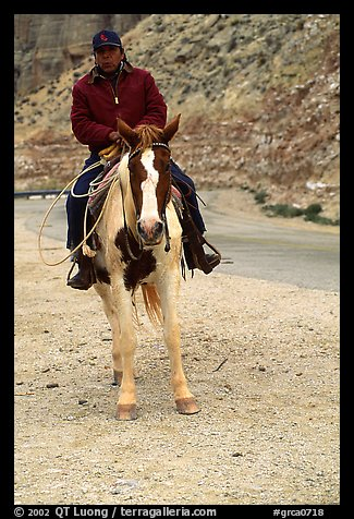 Havasu Indian on horse in Havasu Canyon. Grand Canyon National Park (color)