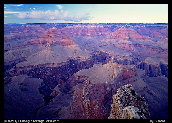 Granite Gorge seen from  South Rim, twilight. Grand Canyon National Park (color)
