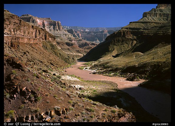 Colorado River at  bottom of  Grand Canyon. Grand Canyon National Park, Arizona, USA.