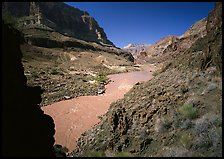 Colorado River and rock walls near Tapeats Creek. Grand Canyon National Park, Arizona, USA.