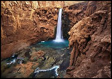 Mooney falls, Havasu Canyon. Grand Canyon National Park, Arizona, USA. (color)