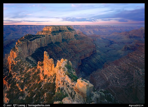 View of Wotans Throne from Cape Royal at sunrise. Grand Canyon  National Park (color)